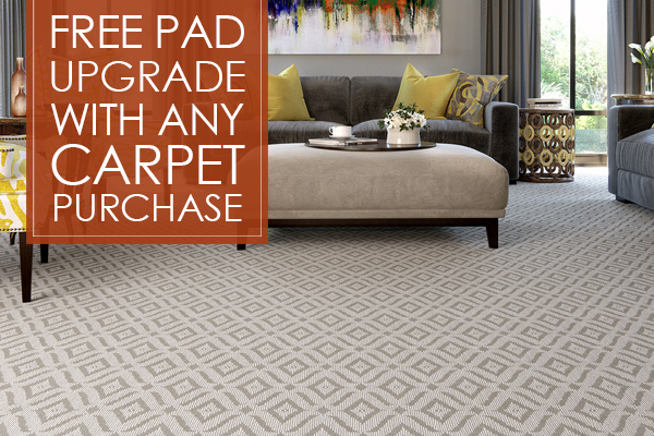 Free pad upgrade with any carpet purchase this month at West Carpets Floors To Go in Rahway.